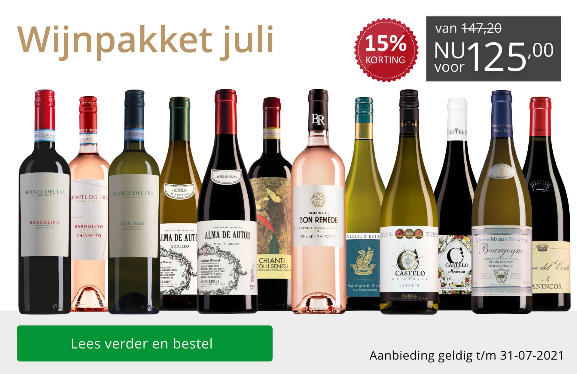 Wijnpakket wijnbericht juli 2021(125,00) - grijs/goud